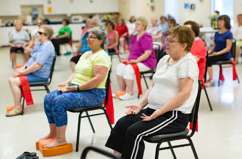 At Wayne Township Senior Center, Illinois, more than 30 yogis attend weekly yoga class offered free of charge for the residents.