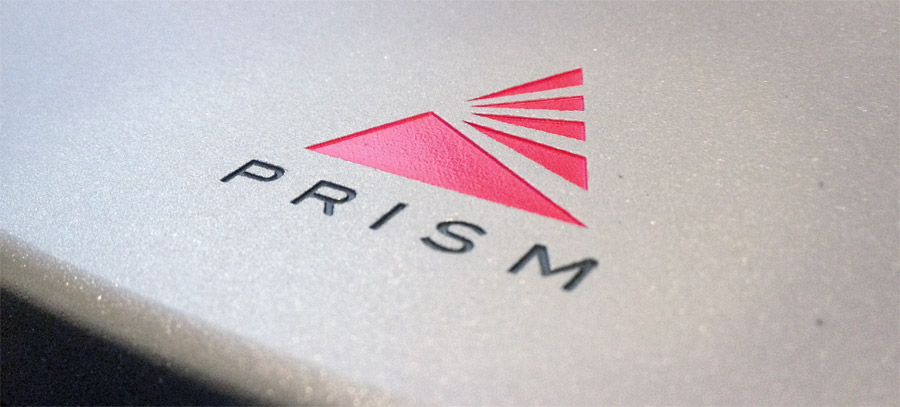 Prism Logo Detail Engraved and Painted