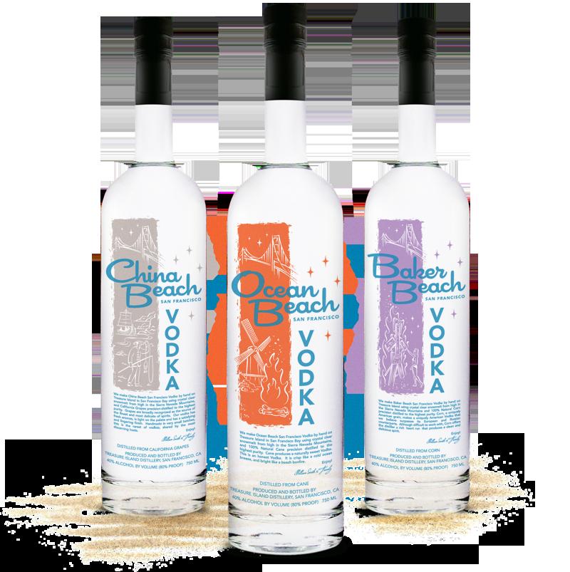 China Ocean Baker Beach Vodka Bottle Packaging Design
