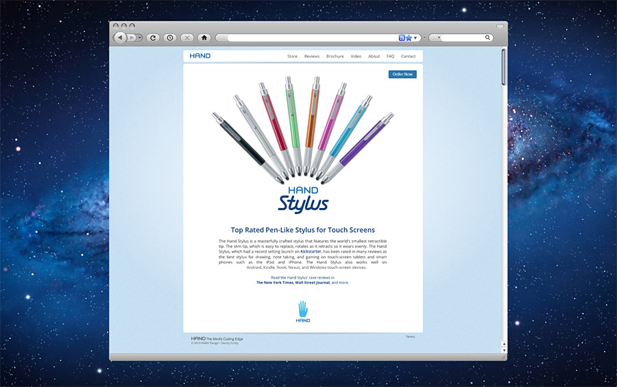 Hand Stylus Website Homepage