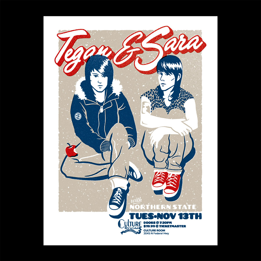 Tegan and Sara Silkscreened Gig Poster for Rock Concert