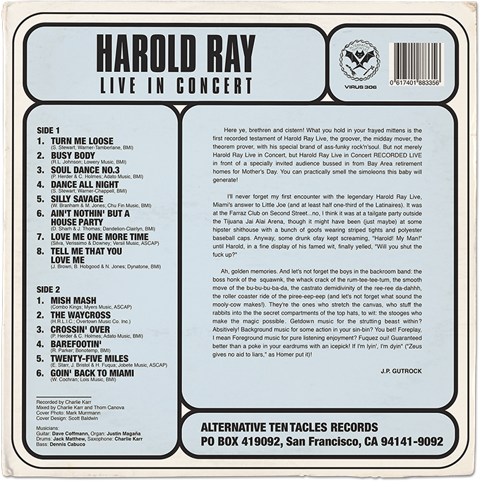 Harol Ray LP Record Design Backside