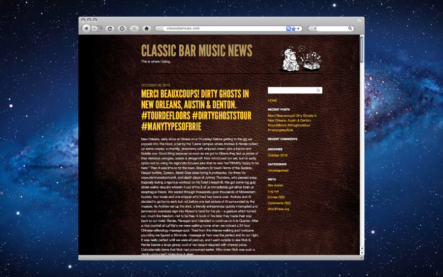 Classic Bar Music Website Blog