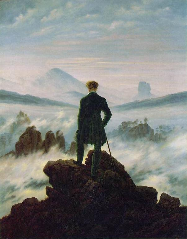 Friedrich, Caspar David.  Wanderer Above the Sea of Fog.  1818. Oil on canvas. Kunsthalle Hamburg, Hamburg.