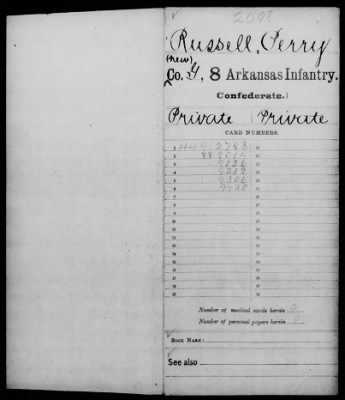 Perry Russell's (Great-Great-Great Grandfather, Husband of Margaret) Confederate service record