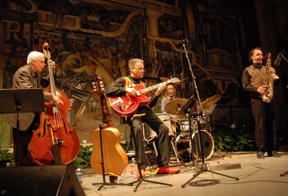 A. Spencer Barefield Quartet at the Detroit Institute of Arts with, left to right, Dave Young, A. Spencer Barefield, Djallo Keita, and Chris Collins. Photo by ©Barbara Barefield
