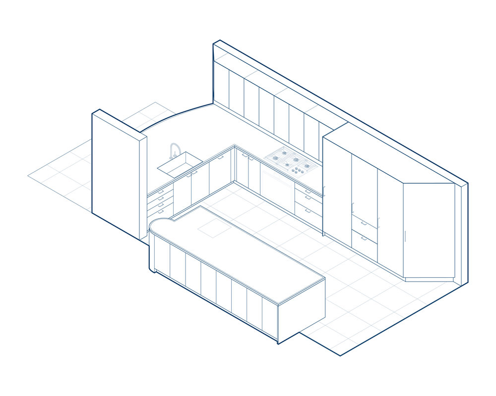 house in the dunes worrell yeung Olive Green Room kitchen axonometric diagram