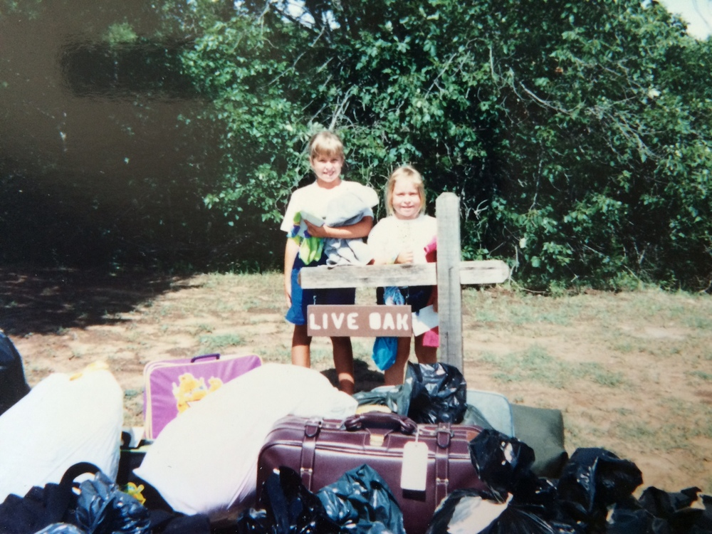 My older sister Mindy and I, first day of camp, early 1990's