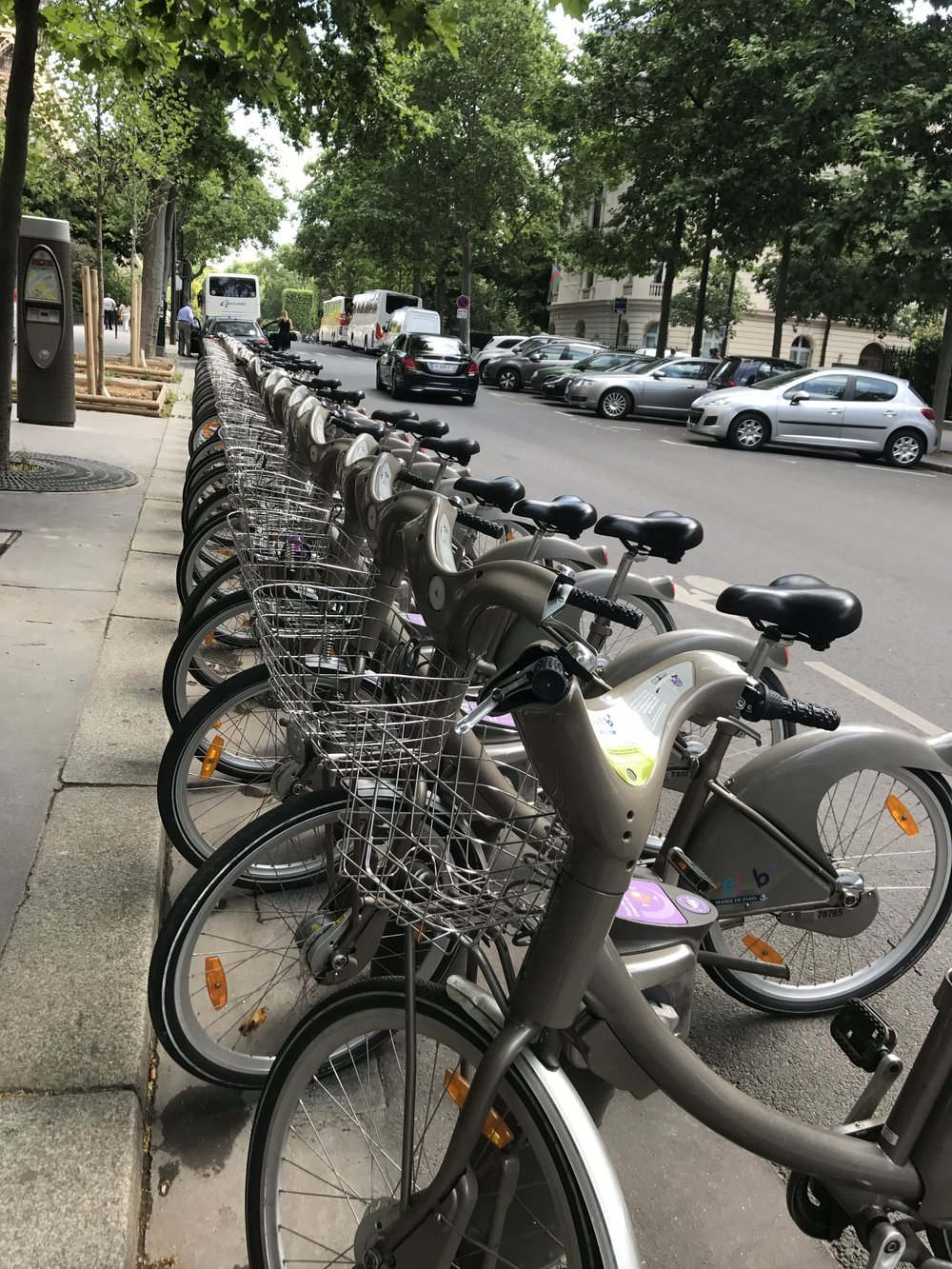 Velib Bike Share in Paris. Look at those baskets!