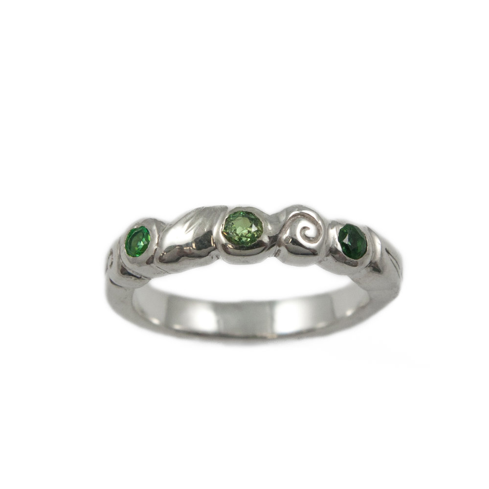 WEDDING ss 3 green stones leaf swirl band EDITED.jpg