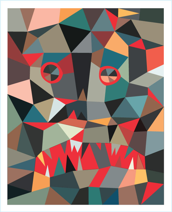 """Polygon Print: Beast"" 2010 Digital Offset 16"" X 12"" #10/66 80 euros"