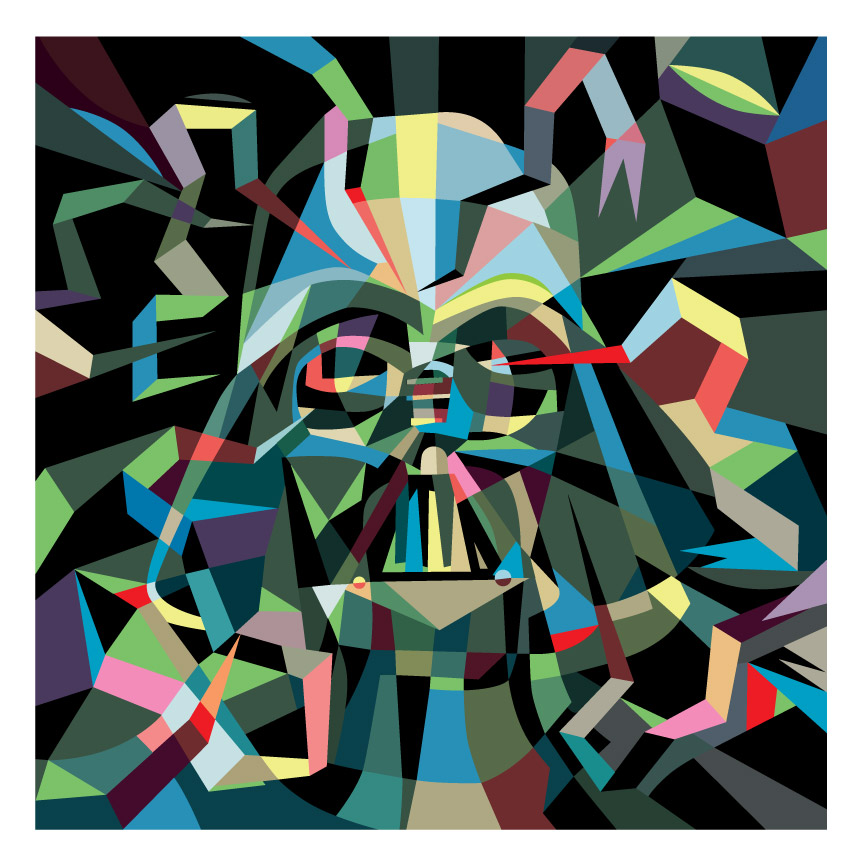 """Polygon Print: Darth Vader"" 2014 Digital Offset 12"" X 12"" #17/33 100 euros"