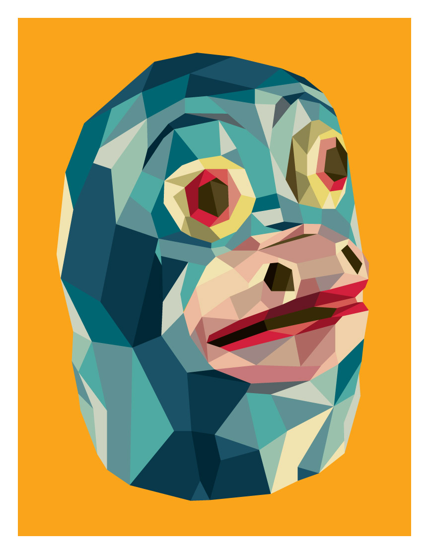 """Polygon Print: Monkey"" 2014 Digital Offset 15.5"" X 12"" #17/66 80 euros"