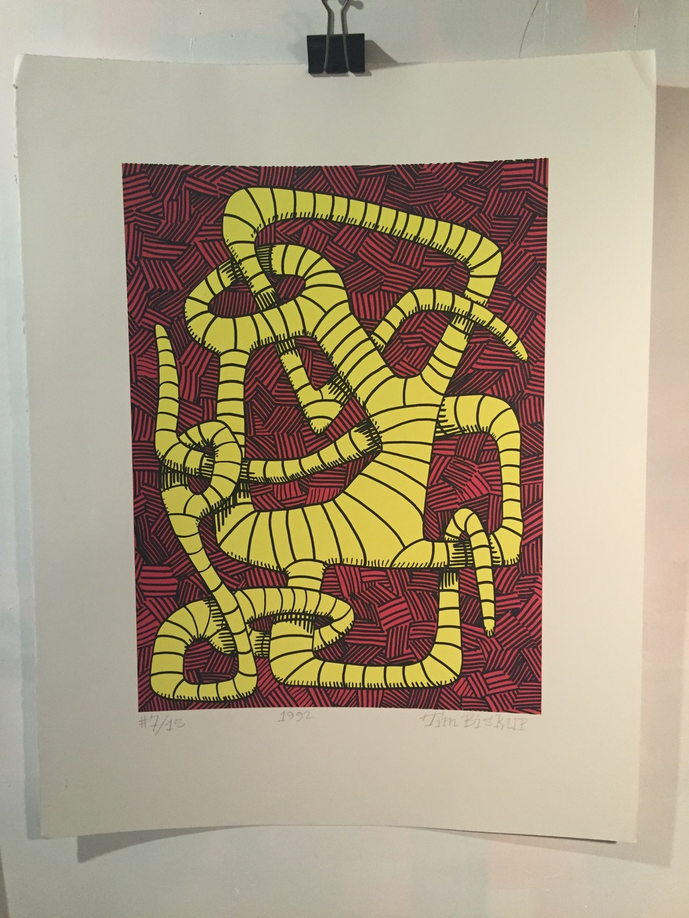 """Untitled"" (Red & Yellow Worm) 1992 3-Color Serigraph 28"" X 22"" #7/15 500 euros"