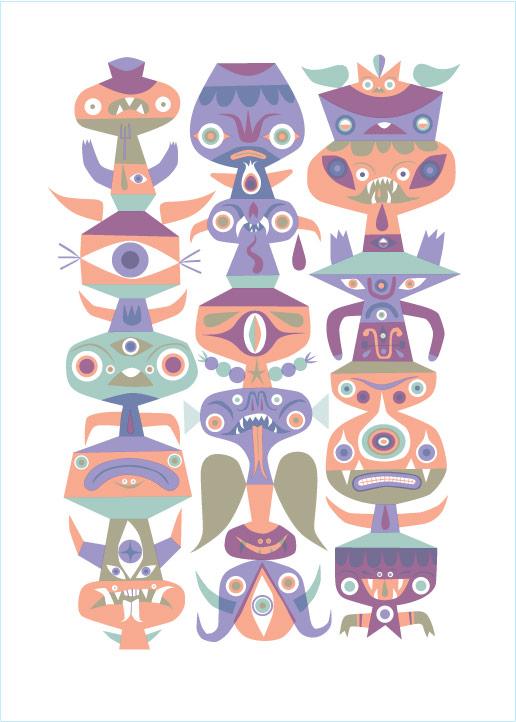 """""""Calendar Totem"""" (Mexico City Variant) 2010 3-Color Serigraph 28"""" X 20.25"""" #7/33 250 euros"""