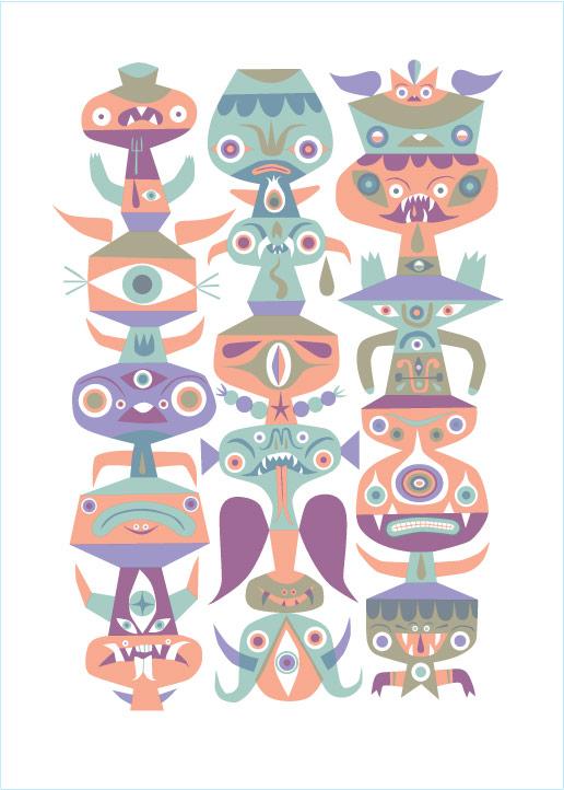 """""""Calendar Totem"""" 2010 3-Color Serigraph 28"""" X 20.25"""" #7/55 200 euros"""