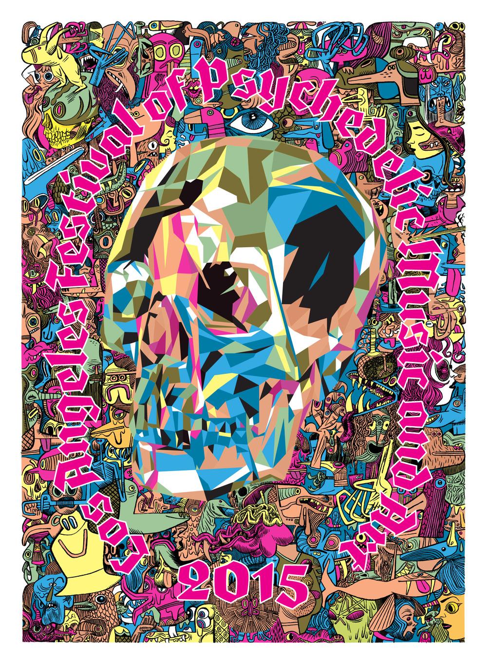 """""""LA Psych Fest 2015"""" 2015 4-Color Serigraph 30"""" X 22"""" #14/66 100 euros"""