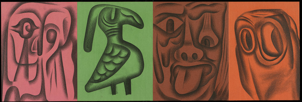 """""""THE DOG #25"""" Graphite and Paper on Plywood Panel 12"""" x 36"""" $2500"""