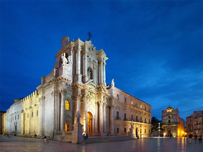 Siracusa Cathedral held within the columns of a Greek temple to Athena