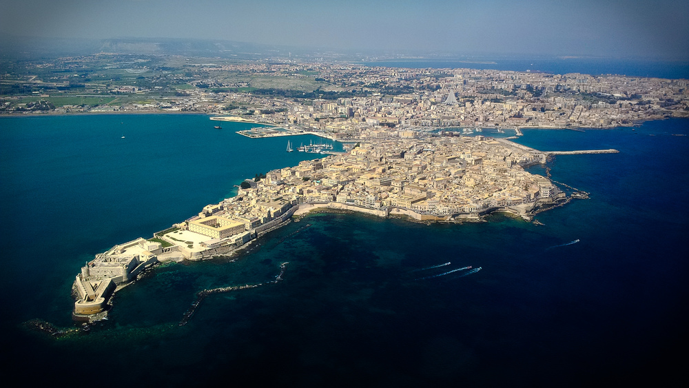 aerial view of Ortigia, the historic center of Siracusa (ancient Syracuse)