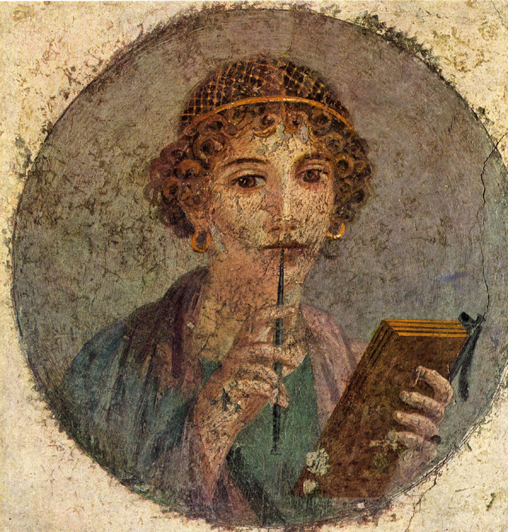 funerary fresco of an educated young Roman woman