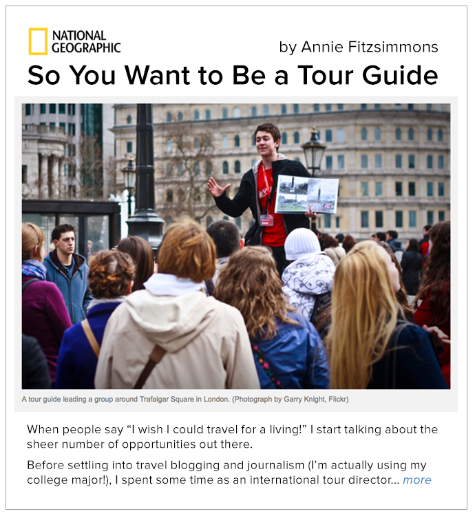 So You Want to Be a Tour Guide article
