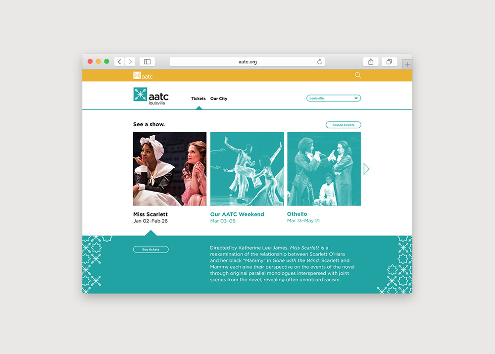 In addition to a main homepage, each city has its own page to feature upcoming performances.