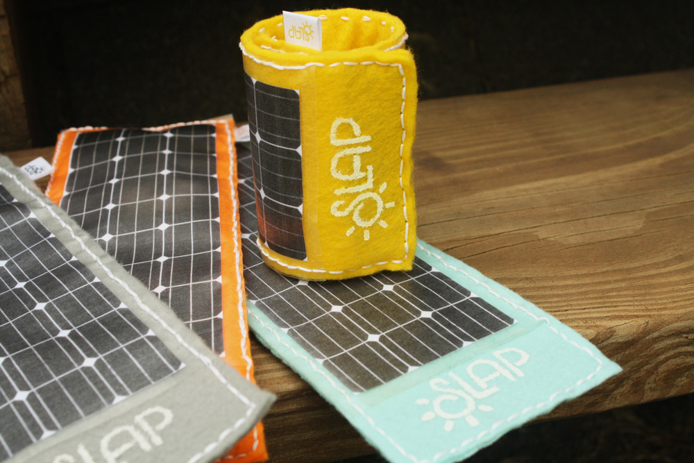 Although they do not have functioning solar panels, these physical prototypes help communicate the idea of a fun, fashionable tech product.