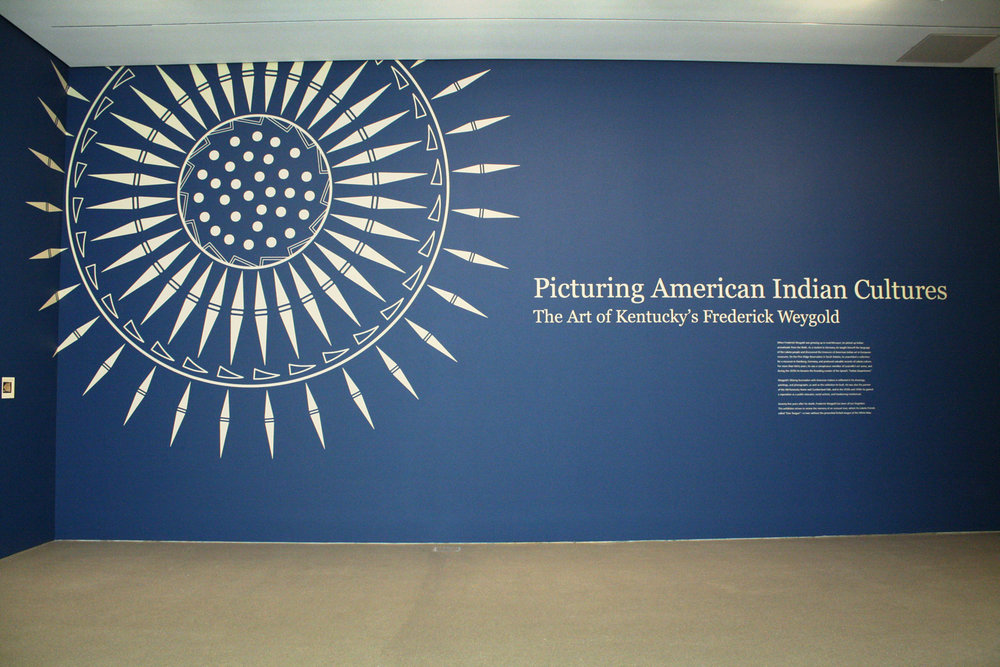 The title wall is the first thing visitors see when exiting the elevator for the exhibition.