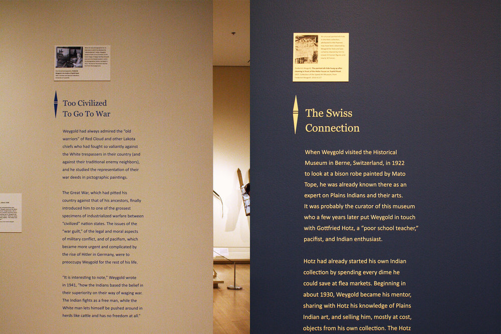 The section texts needed to be useful as markers throughout the exhibition, which includes around 200 artworks, while also incorporating added images and captions to illustrate each introductory text.