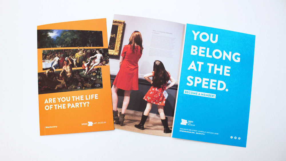 The membership brochure tells a story connecting Museum artwork to people. No matter what question you identify with, you belong at the Speed.