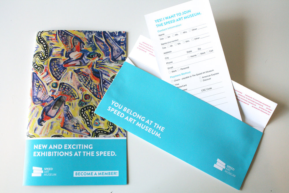 An unusually colorful direct mail campaign encouraged members to join in order to take advantage of upcoming exhibitions.