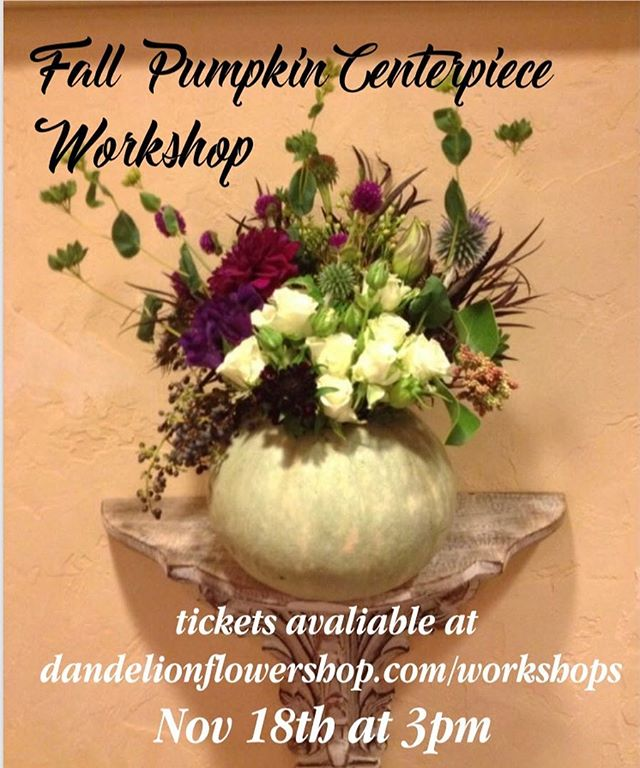 create your own fall centerpiece and take home more fall crafts during our next workshop! more details and tickets at dandelionflowershop.com/workshops