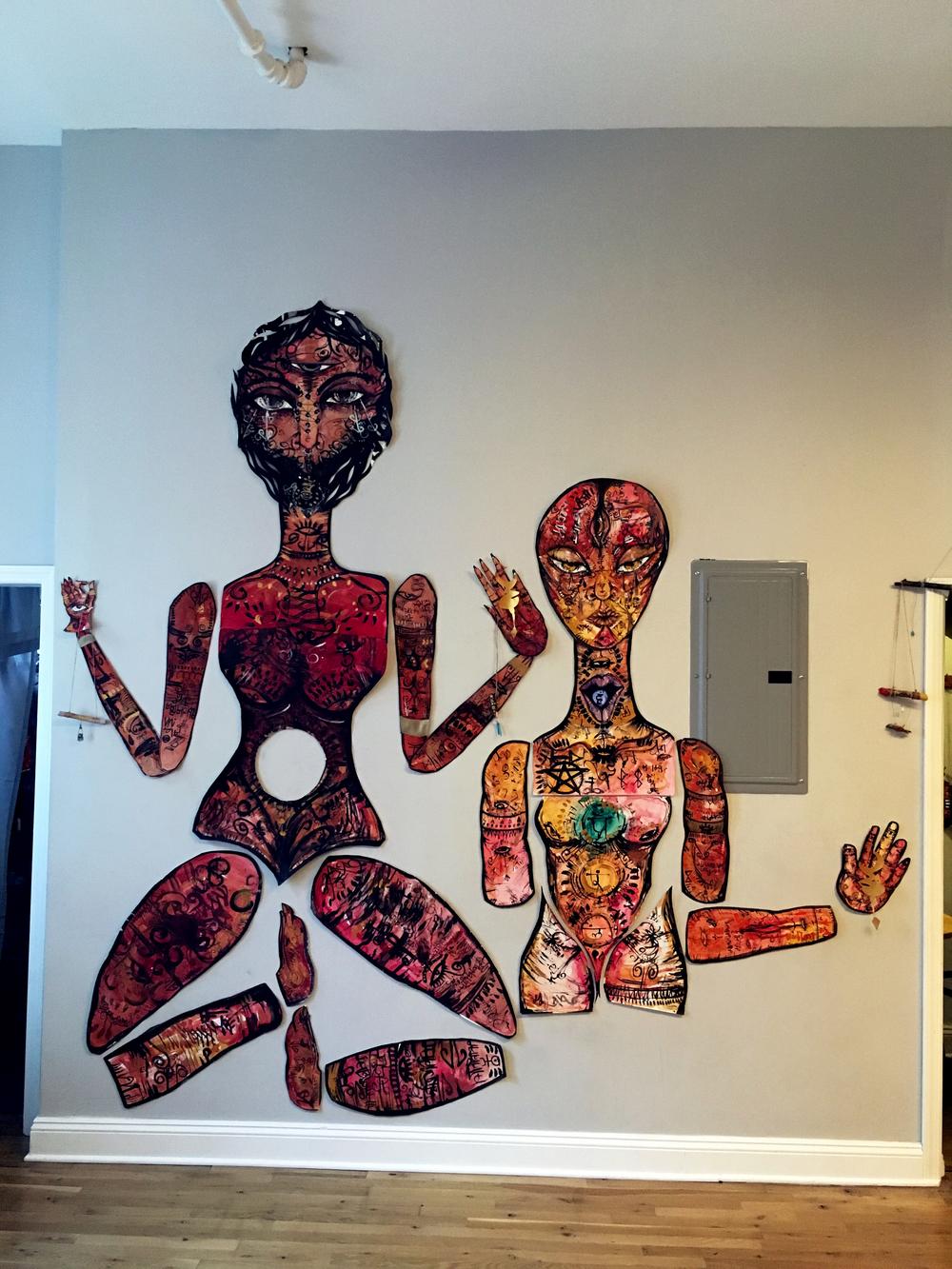 Dark Goddess & Chakra Goddess. 10 feet tall. 2015. Watercolor & Ink.