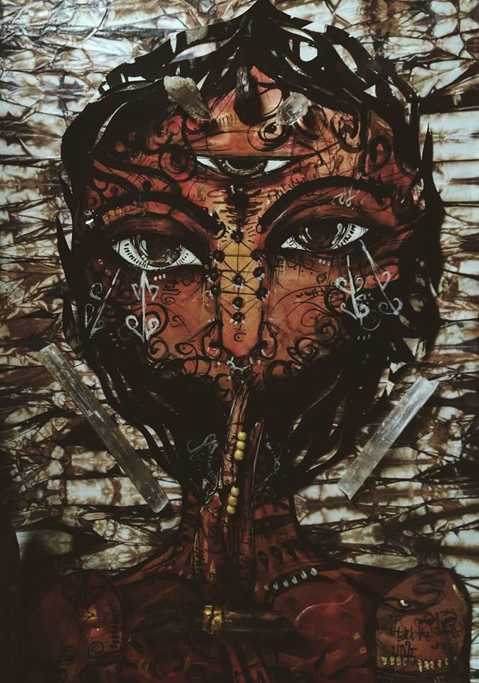 Dark Goddess Close up.2015.Watercolor & Ink.
