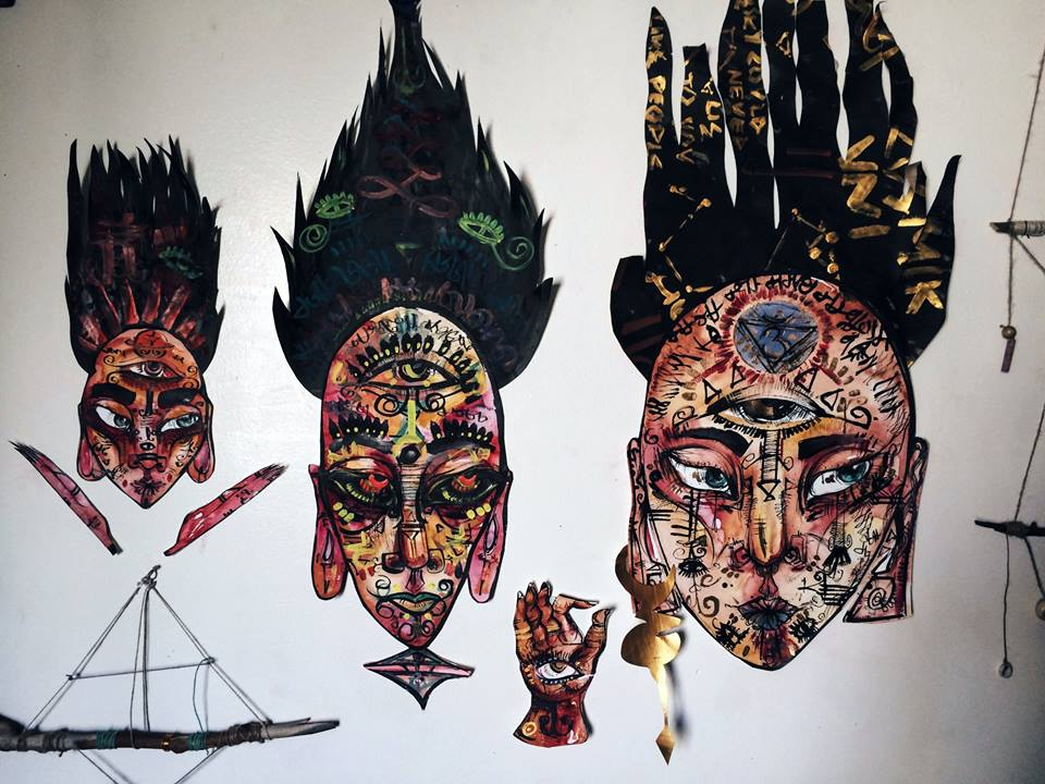 Mask Collection. 2015 Watercolor & Ink.