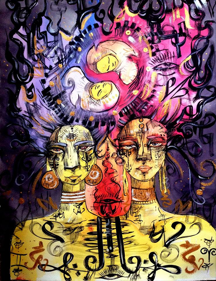 Painting by Qutress Trevino & Gabrielle Tesfaye Collaboration. 2015. Watercolor & Ink. SOLD.