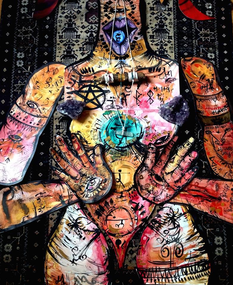 Chakra Goddess Close up. Watercolor, Ink.