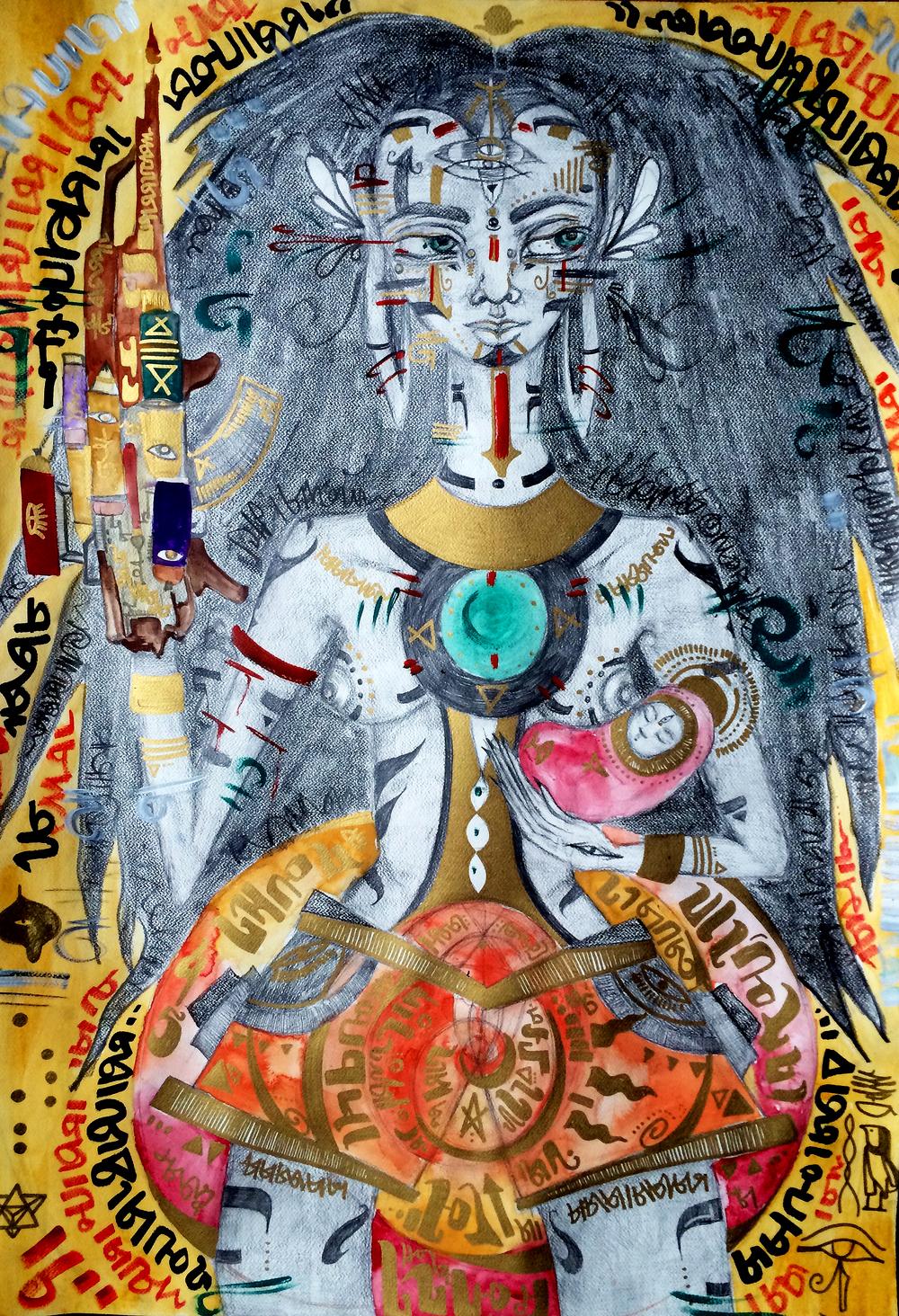 "Mama Warrior. 2016. 30"" x 40"". Graphite, Watercolor, Acrylic."