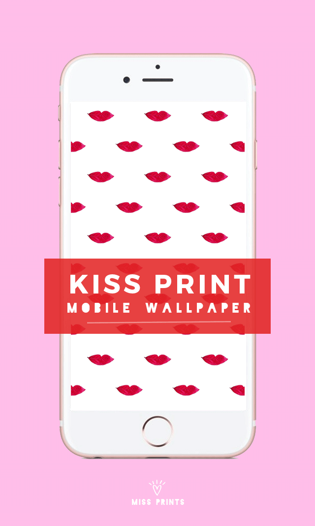 free kiss print mobile wallpaper for valentine's day | @themissprints