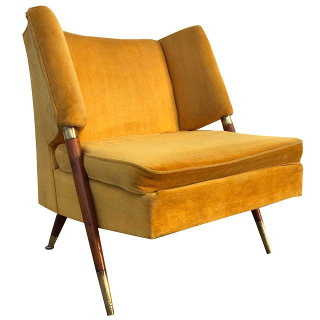 MUSTARD MID-CENTURY LOUNGE CHAIR