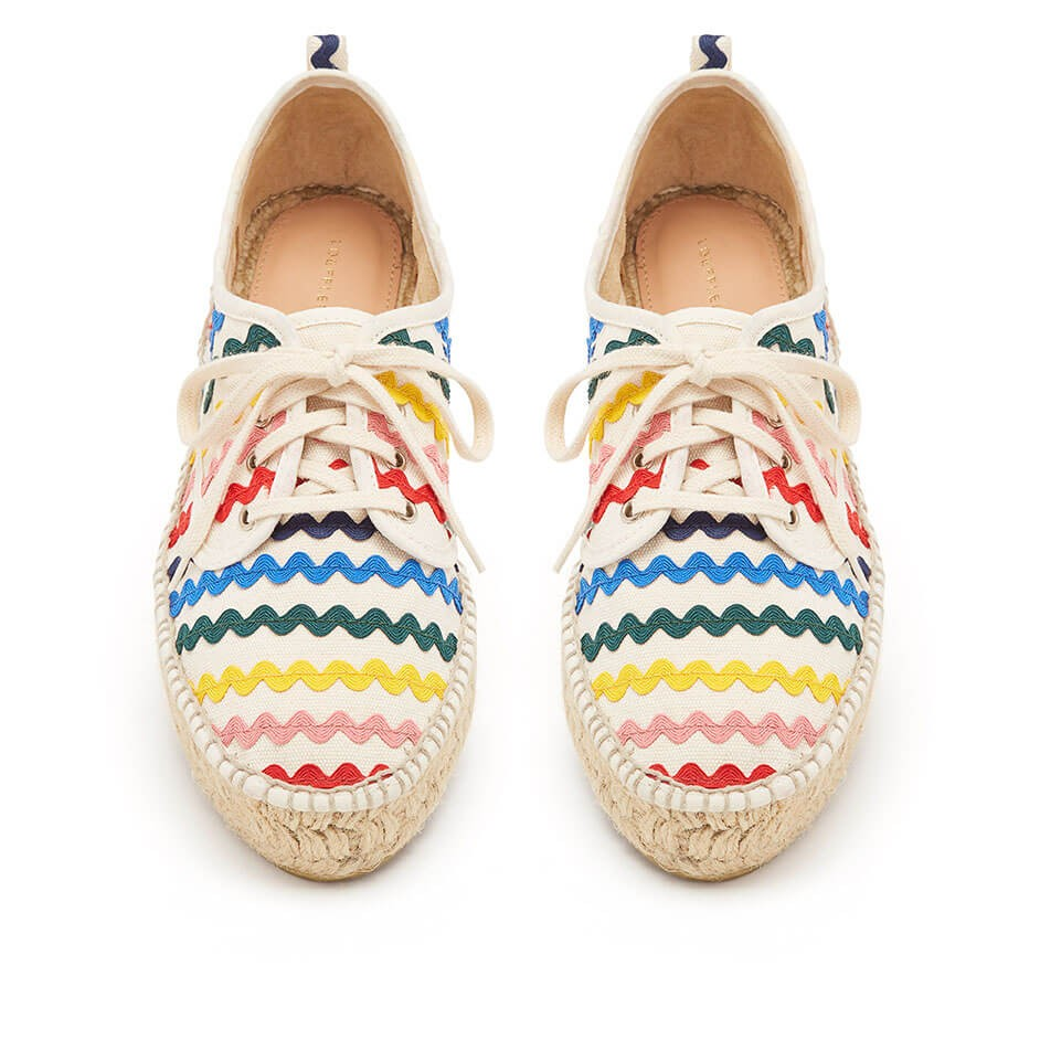 espadrille sneaker with rainbow ricrac