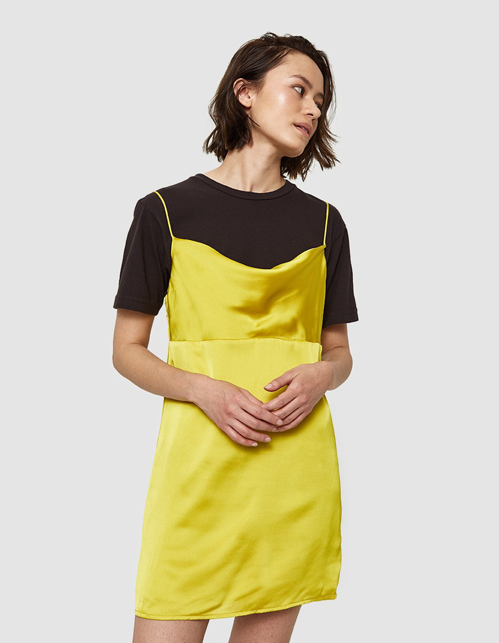 yellow spaghetti strap dress | @themissprints
