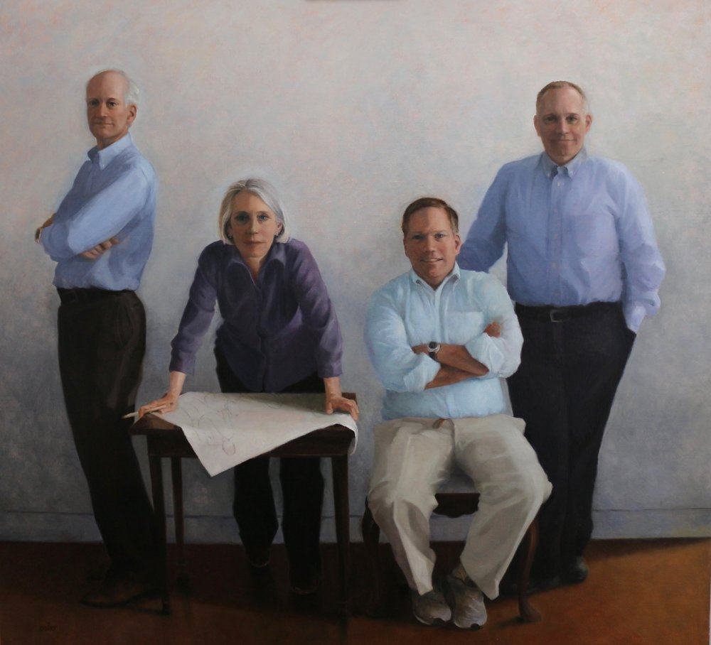 "The Four of Us, oil on Belgian linen on board, 45"" X 43"""