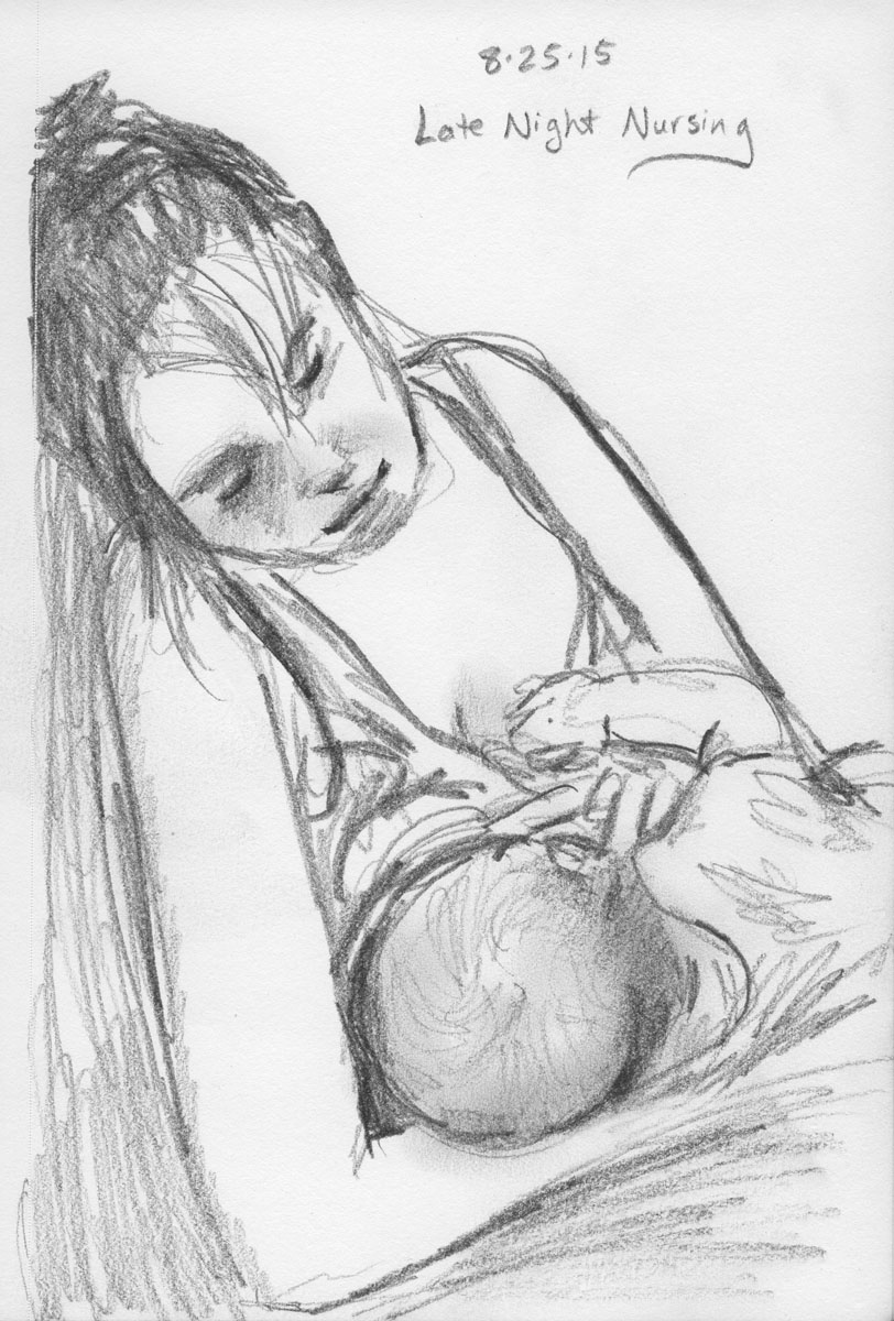 a sketch of my sister nursing her new baby