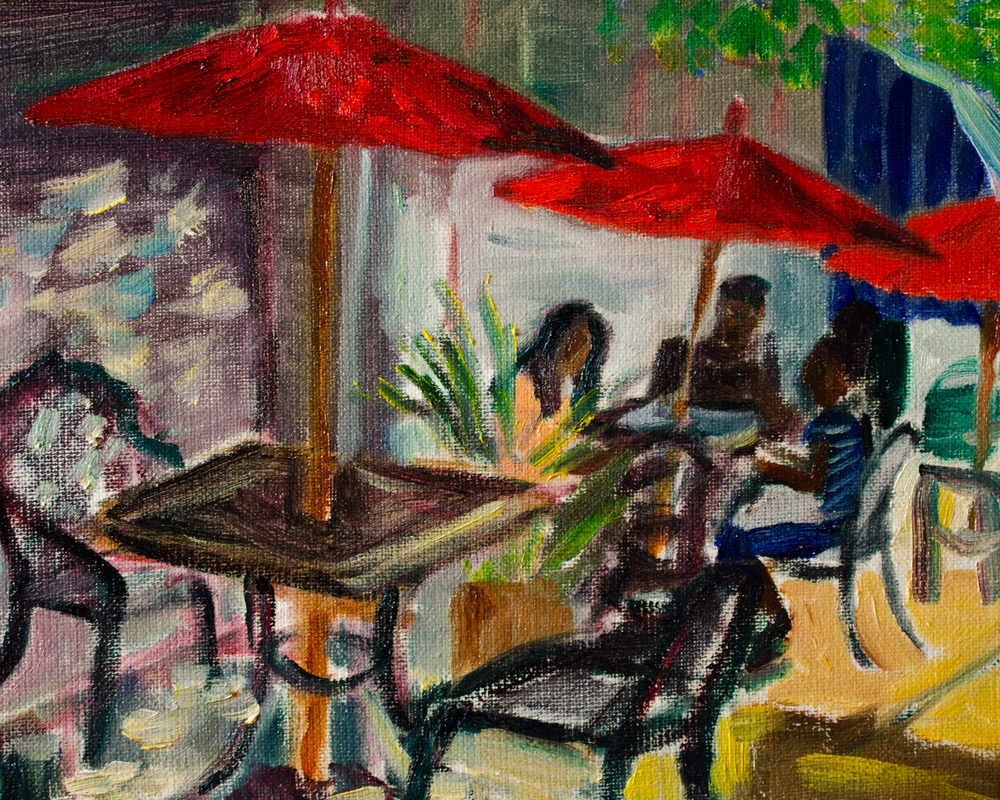 """Noto's Deli"" oil on canvas, 8x10"" This is a quick oil sketch I did of Noto's Deli, on 930 Northampton St., Easton, PA.  A few teenagers were happy to sit at the table under the red umbrella and pose for us."