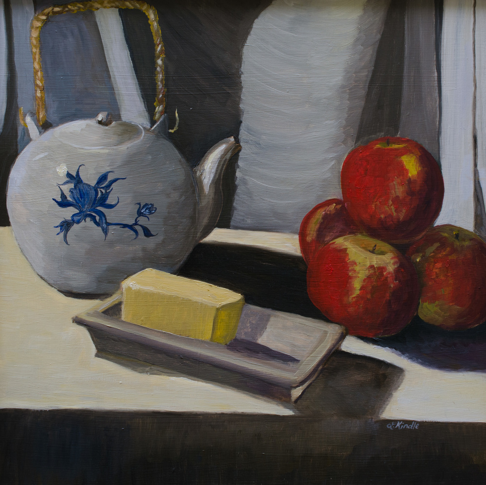 """Grandmommy's Teapot When She Was Alive,"" oil on masonite, 24x24''  2005"