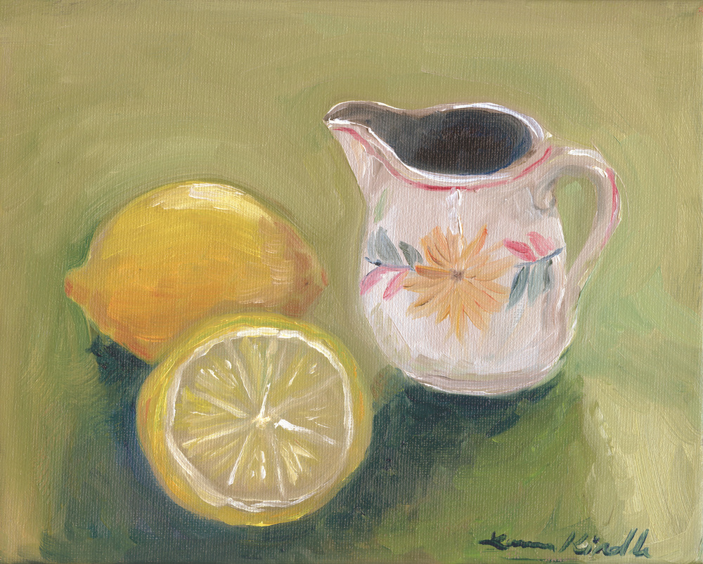 """Grandmommy's Cream Pitcher,"" oil on canvas, 8x10'' 2013"