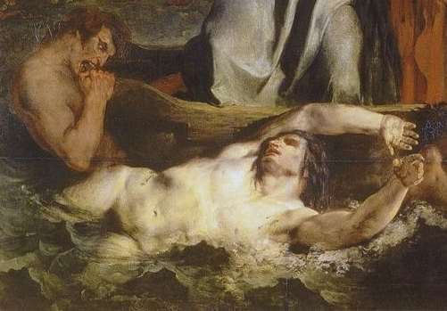"Detail from ""The Barque of Dante"" by Delacroix (1822)"