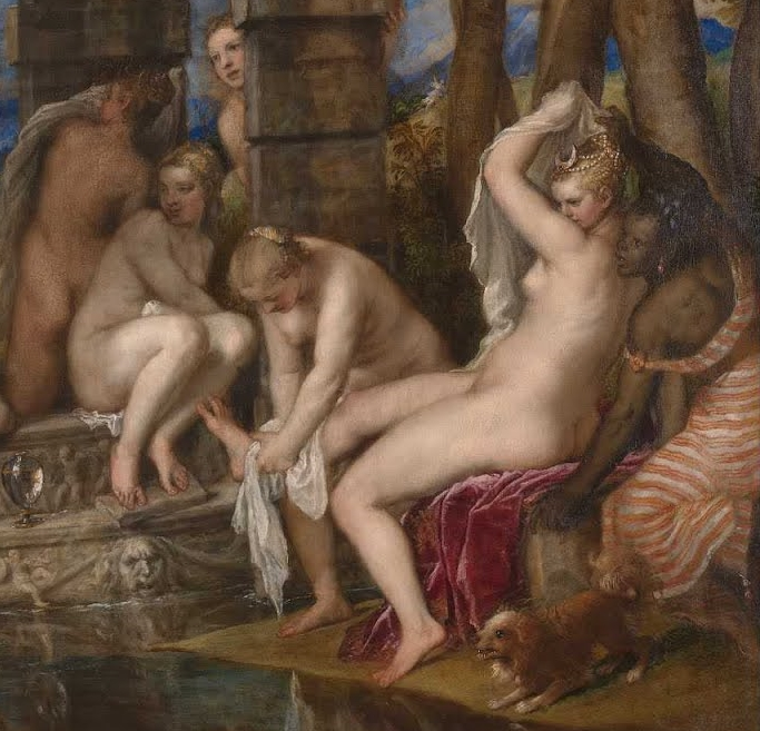 What's going on here? Actaeon shouldn't be looking at this virginal goddess. She's about to have her hounds rip him apart! But could that adorable little dog really do any harm to a sincere and well-meaning-but-still-lusty man like Actaeon?